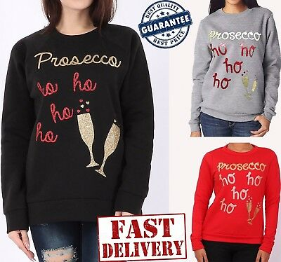 Womens Christmas Xmas Jumper Prosecco ho ho ho Novelty New Ladies Plus Size Top