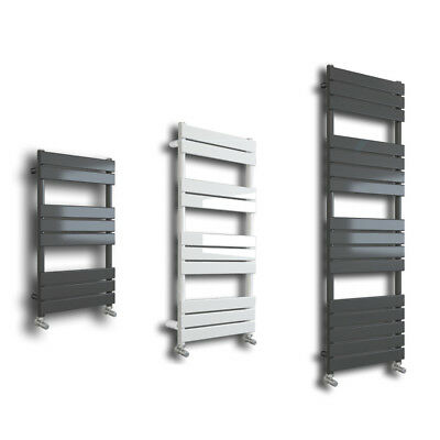 Designer Flat Panel Heated Towel Rail Radiator Bathroom Warmer Grey or White