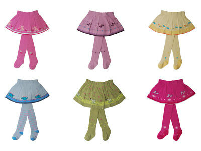 YO! Luxury Baby Girls Toddler 2 in 1 Cotton Skirt with Tights