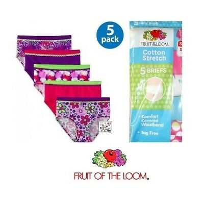 Fruit of the Loom Girls' Cotton Stretch Brief Panties, 5-Pack Assortment Varies