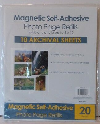 "Magnetic Self-Adhesive Photo Page Refills 10 Archival Sheets 8"" x 10"" New"