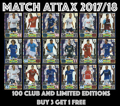 Match Attax 2017/18 100 Club 17/18 Limited Edition Bronze Silver Gold