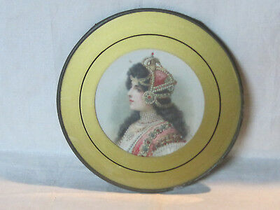 Antique Victorian flue cover w/ portrait of beautiful exotic woman lady