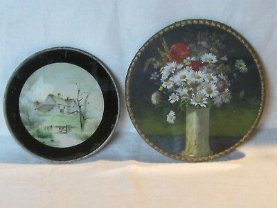 2 Antique Victorian flue covers, floral still life and pastoral county scene