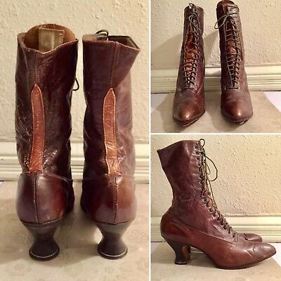 d1864864e9f8 Antique 1920s Leathers Ladies Boots With Louis Heel with Miniature Broguin