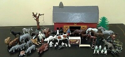 Lot of Antique & Vintage Miniature Farm & Zoo Animals with Barn