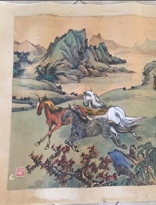 Antique Original Chinese Signed Watercolor Painting Hand Scroll Horses LARGE 65""