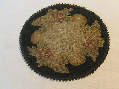 "Antique silk hooked black floral pattern miniature dollhouse rug, 6"" diameter"