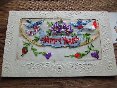 W.war. 1.  Floral Design With Insert.   Silk Postcard.   Nice Condition.