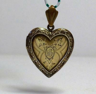 "Vintage Retro Sterling Silver & GF HEART Locket flower & scroll design ""WG"" mono"