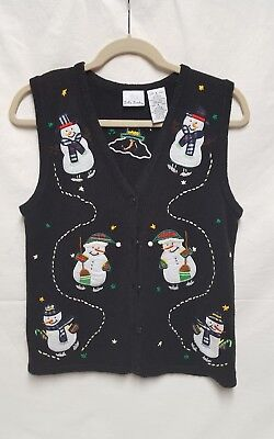 Bobbie Brooks Ugly Christmas Button Up Vest Embroidered Snowman. Size: S