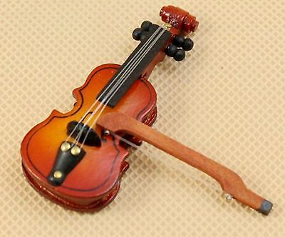New Tiny Doll House Hancrafted VIOLIN & Bow - Fantastic
