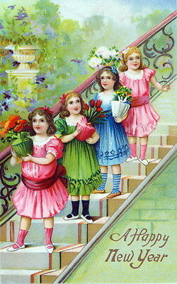 Vtg New Year~Colorful~Pretty Girls on Stairs Carrying Flowers~NEW Lge Note Cards