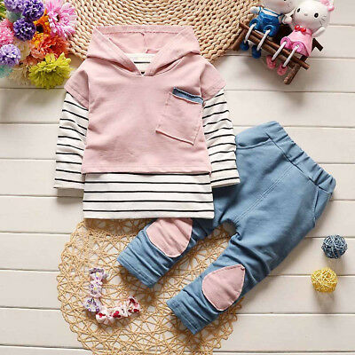 Toddler Kids Baby Girl Outfits Clothes Hooded Casual T-shirt Tops+Pants Set 2PCS