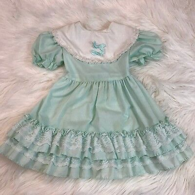 Vintage Girls Party Smocked Double Ruffle Dress Mint Green & White Size 4