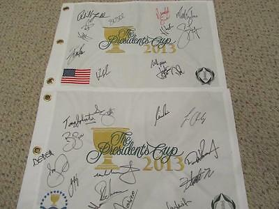 2013 Presidents Cup USA & International Golf Flags Signed Auto Mickelson Spieth