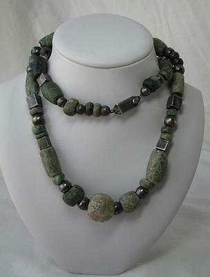Pre Columbian Jade Necklace Ancient Mayan 500-950AD Speckled Jaguar Spotted Jade