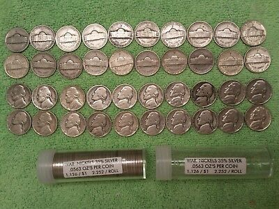 1 Roll  (40 Coins)  War Nickles  35% silver  1942-1945 With Clear Plastic Tube