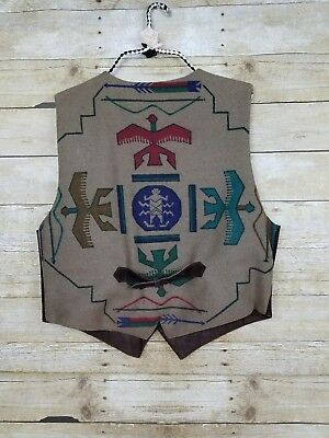 Vtg Suede Southwest Aztec Vest Great Seal of the State of Oklahoma Buttons Sz M