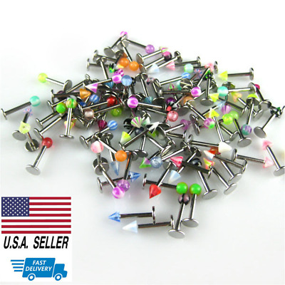 Wholesale 100 Lot Gem Steel Labret Lip Rings Tragus Monroe 16G Body Piercing US