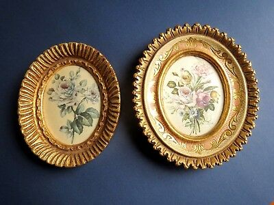 Vintage Artitalia Ornate Gilt Framed Flower painting on Silk - Florentine Style