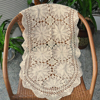 100% Cotton Handmade Crochet Lace Table Runner 19X39inch Flower Pattern