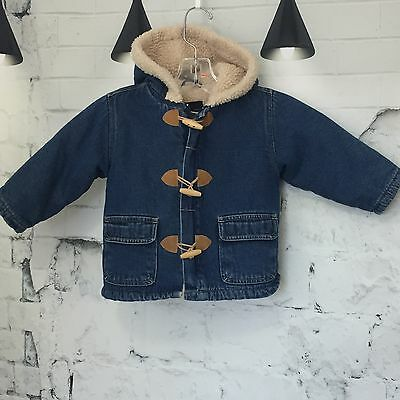 BABY ROOTS JEANS - Sherpa Lined Denim Toggle Jacket Coat 18-24 Months VGC