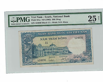 BANK of VIETNAM-SOUTH 500 DONG 1962 ( #156 )