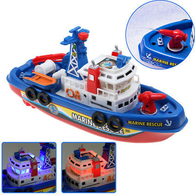 Kids Toy Fire Boat Sound Flash Light Water Spray Ship Rescue Fireboat Electric