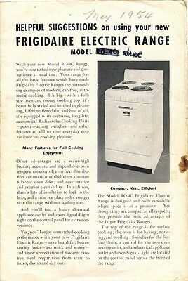 1954 pamphlet: Helpful Suggestions on using your RM-4C Frigidaire Electric Range