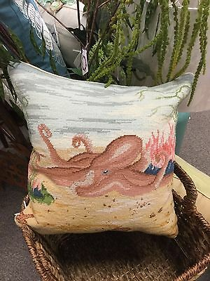 Needlepoint Pillow Octopus 18x18""
