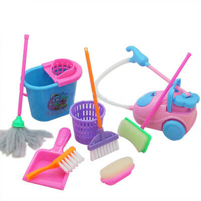 9pcs Kids Pretend Play Toys Cleaning Dust Tools Mini Broom Mop Toy