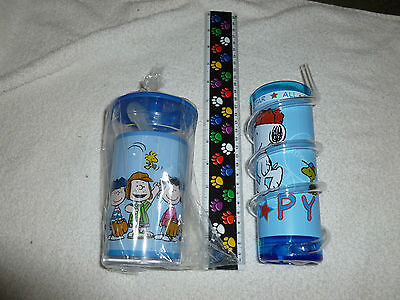Snoopy Baseball plastic drinking glasses **NEW**Set of 2**