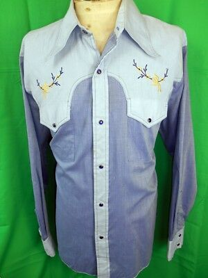 Vintage 70s Embroidered Blue Poly/Cotton New Breed Western Cowboy Shirt Snaps XL