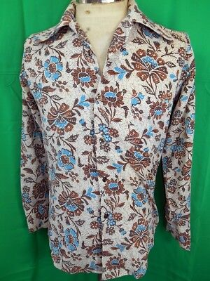Vintage 70s Brown & Blue Floral Poly/Cotton Put On Shop Dress Shirt Extra Small
