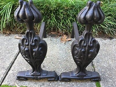 Antique Art Nouveau Andirons Fire Dogs Cast Iron And Steel