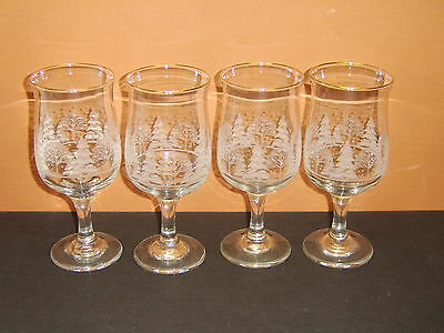 Set 4 Libbey Winter Wonderland Gold Rim 10 Oz. Goblets Water Wine Tulip Shaped