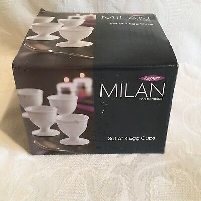 New Rayware Milan Fine White Porcelain Egg Cups Cup  Set Of 4