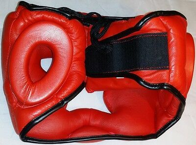 Muay Thai Head Guard Kick Boxing Protection Gear MMA RED NEW