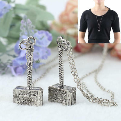 2 Pcs Silver Tone Badge Hammer Alloy Pendant Necklace Jewelry for Men's Gifts