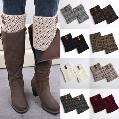 Womens Leg Warmers Boot Toppers Socks Button Knitted Winter Warm Slouch Cover