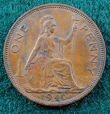 1940 UK Great Britain One Penny Coin  KM#845  HIGHER GRADE SB3195