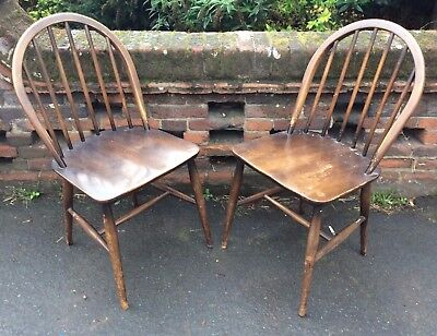 Pair Of  Vintage 1950's / 60's Ercol Windsor 370 Kitchen Dining Chairs