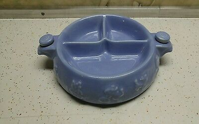 Vintage Nursery Rhyme Blue Divided Child's Food Warmer Plate