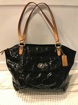 Coach F14663 Black Embossed Patent Leather Leah Tote Bag