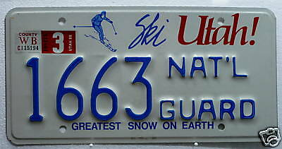 USA Nummernschild Utah - National Guard!Selten! 667.