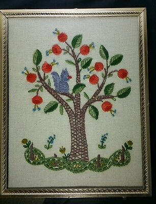 """Crewel Apple Tree Squirrel Framed Embroidered Wall Hanging 8 x 10"""" Vintage"""