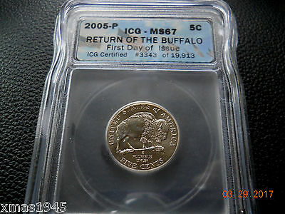 ICG Jefferson Nickel 2005 P Return of the Buffalo ICG MS67 First Day Issue