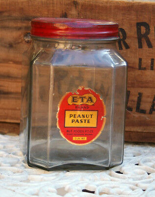 Vintage ETA Brand PEANUT PASTE JAR glass 2 1/2 lb net Australia red lid J57 jars