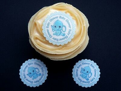 30 Baby Elephant Boy Shower Pre-Cut Fairy Cake Cupcake Edible Rice Paper Toppers